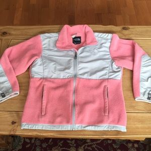Northface fleece jacket; pink & gray; girls size L